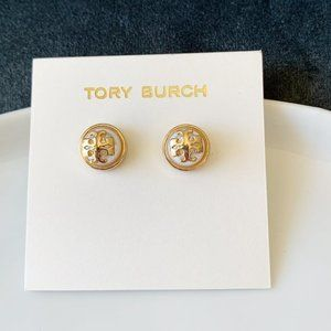 Tory Burch signature logo half pearl earri…